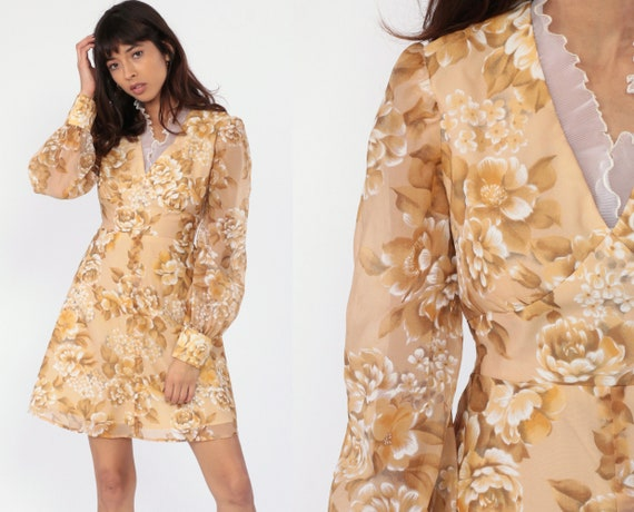 Babydoll Mini Dress 70s PUFF Sleeve Dress Floral Print Dolly Lace Empire Waist 60s Mod Dress Tan 1970s Vintage Lolita V Neck Medium