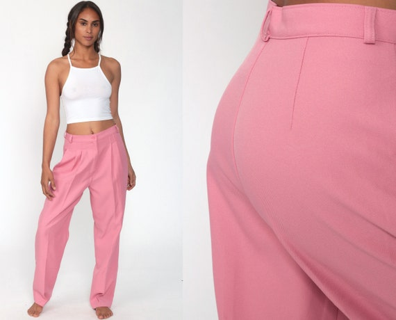 Pink Pants Pleated Trousers High Waisted Trousers 80s Tapered Straight Leg 90s Vintage Summer Hipster Small 28