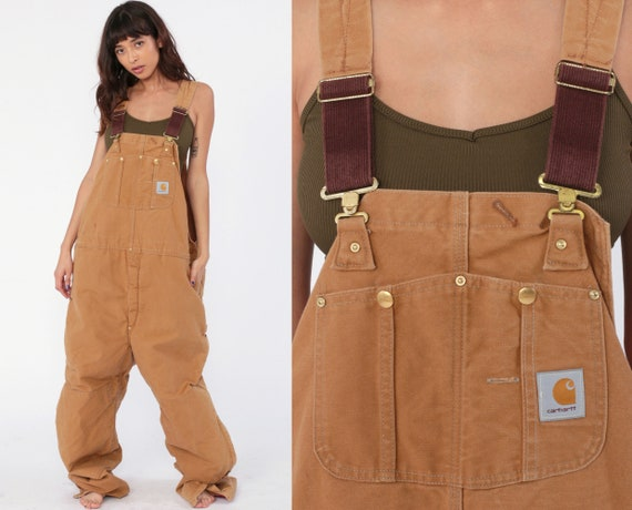 Carhartt Overalls xl Workwear Coveralls Baggy Pants QUILTED Cargo Dungarees Brown Bib Long Work Wear Vintage Tall Extra Large xl 50 x 34