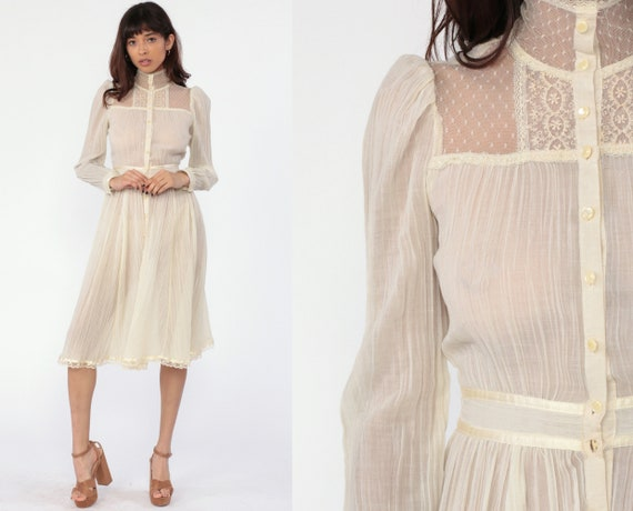 Gunne Sax Dress 70s PRAIRIE Midi Button Up Sheer Gauze Lace Victorian Boho 1970s High Waisted Beige Long Sleeve Wedding Extra Small XS