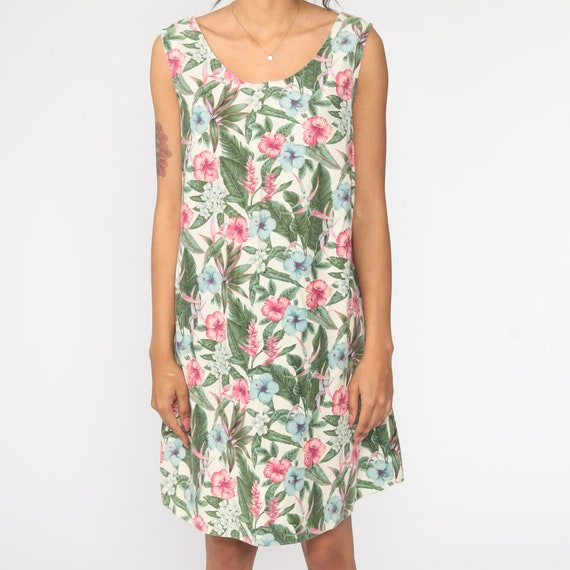 Tropical Print Pink Floral Dress size M 90/'s flowers colorful Hawaiian