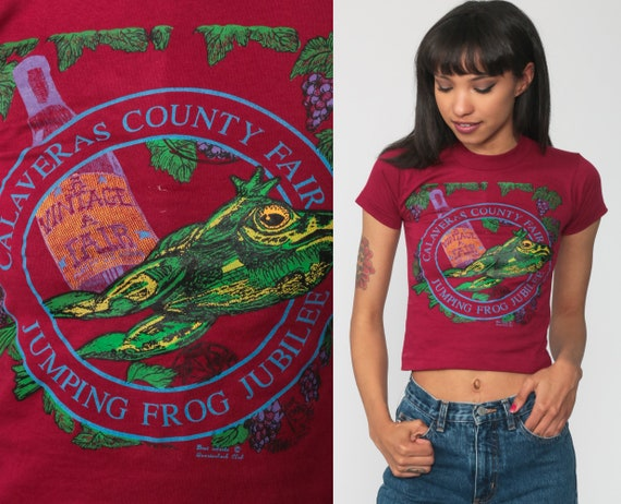 80s Shirt Calaveras County Fair Jumping Frog Jubilee Shirt Single Stitch Graphic Tee Vintage T Shirt 1980s Burgundy Extra Small 2xs xxs