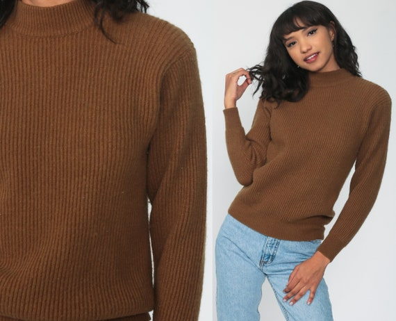 Brown Wool Sweater Funnel Neck Sweater 80s TURTLENECK Sweater Pullover Jumper Vintage Normcore Plain Small