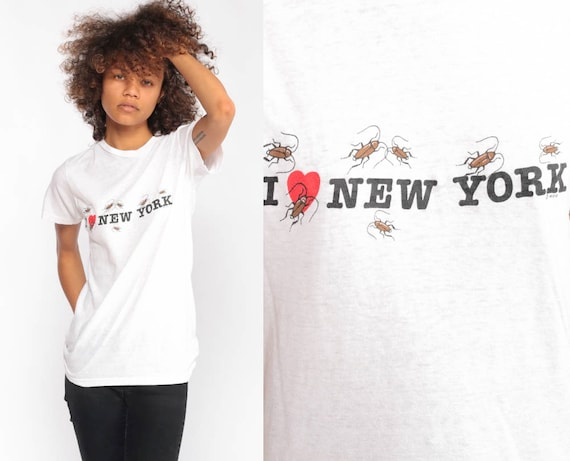 New York Shirt I Heart NYC Shirt COCKROACH Retro TShirt New York City Vintage Burnout t Shirt 90s Travel Graphic Tee Extra Small xs