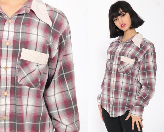 70s Plaid Shirt Grey Burgundy Checkered Lumberjack Shirt Faded Grunge 1970s Vintage Button Up Top Long Sleeve Pocket Small Medium