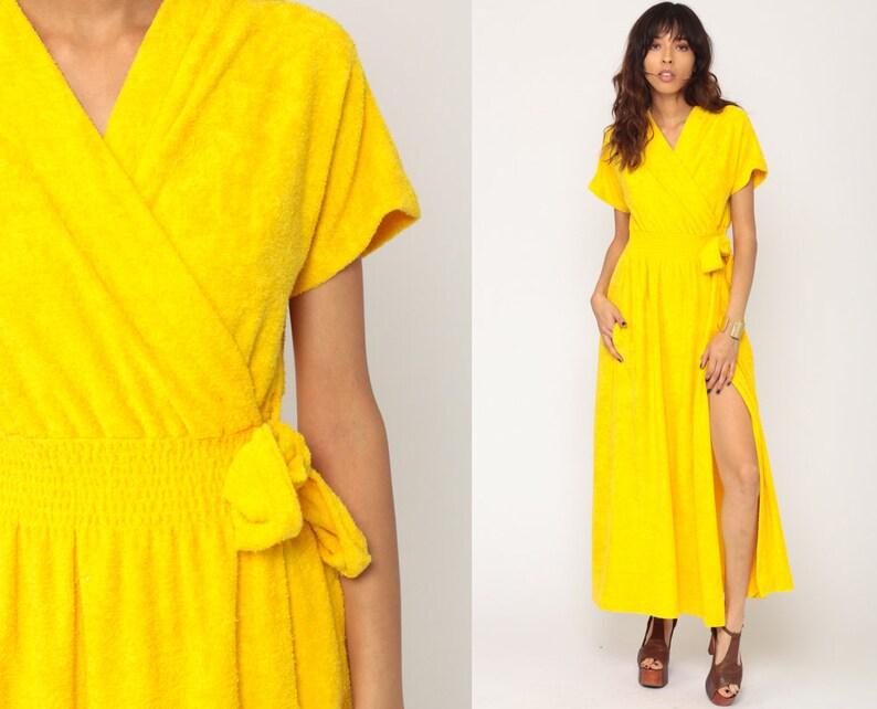 f82ebf6acb Terry Cloth Dress WRAP Dress Yellow V Neck 70s Maxi Lounge