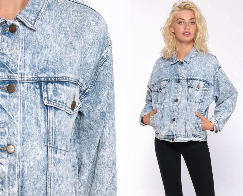 2449e6af906 80s Denim Jacket ACID WASH Jean Jacket Vintage Grunge Jacket