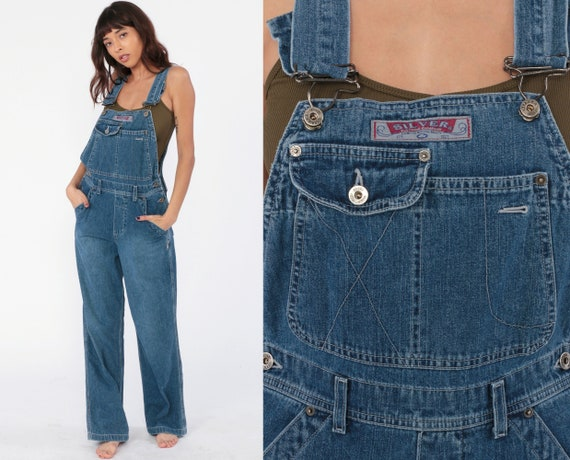 Silver Jean Overalls 90s Denim Grunge Pants SILVER JEANS Baggy Dungarees 00s Bib Overalls Pants Boyfriend Vintage Carpenter Extra Small xs s