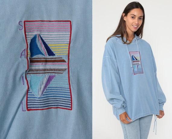 90s Sailboat Hoodie Shirt Blue Sweatshirt Nautical Hooded Shirt Drawstring Kangaroo Pocket 1990s Vintage Long Sleeve Large