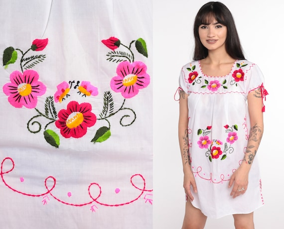 Mexican Top EMBROIDERED Blouse Floral Blouse Hippie Boho Shirt Cotton Tunic Bohemian White Floral Vintage Ethnic Festival Extra Small xs