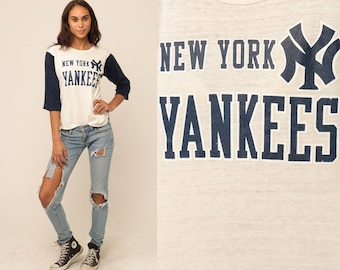 Yankees Shirt New York Baseball Jersey Shirt Numbered Sports Athletic 80s Tshirt Vintage 1980s Sporty Burnout Small