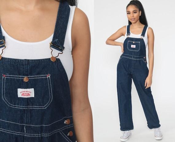 Denim Overalls Pants XS -- Roundhouse Jeans 80s Denim Bib Yank Bib Overalls Pants Baggy Blue Long Jean Dungarees Vintage Extra Small