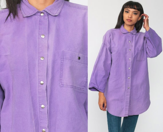 Purple BUTTON UP Shirt 80s Blouse Vintage 80s Plain Simple Collared Shirt Cotton Top 90s Retro Plain Long Sleeve Medium