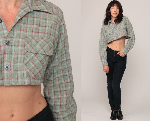 Plaid Shirt 70s Crop Top Cropped Shirt Checkered Blouse Preppy Button Up 1970s Long Sleeve Grey-Green Small Medium