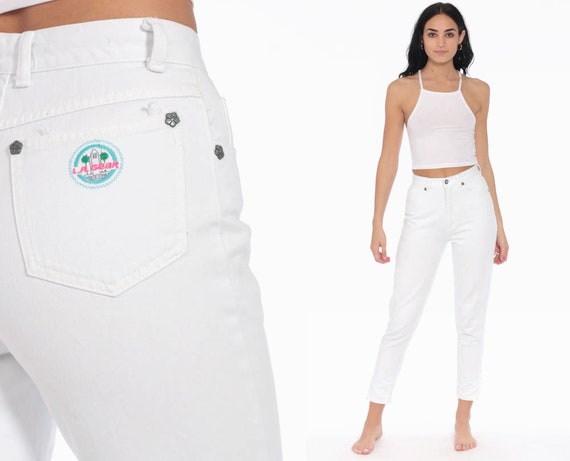 90s LA Gear Jeans 24 -- White Skinny Mom Jeans High Waist ANKLE ZIP Jeans Denim Pants 90s Slim Jeans Vintage Extra Small xs 0