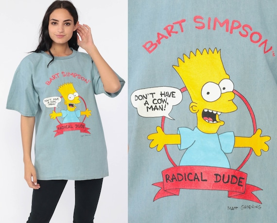 Bart Simpson Shirt 1990 The Simpsons Shirt DON'T HAVE A COW Graphic TShirt Cartoon 90s Retro Tv Show Vintage T Shirt Medium Large