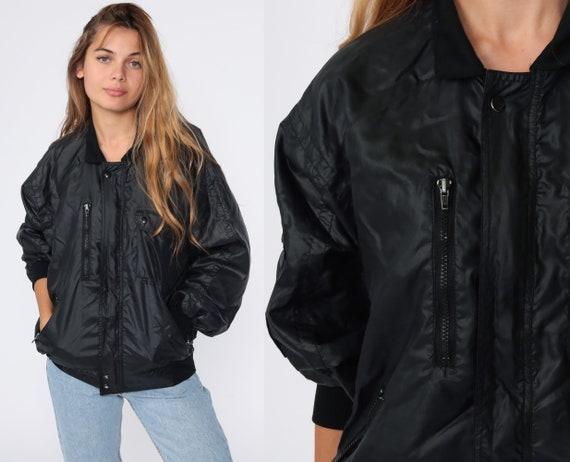 Shiny Black Windbreaker Jacket 80s Bomber Jacket Collared Zip Up Jacket Windbreaker Vintage Small Medium