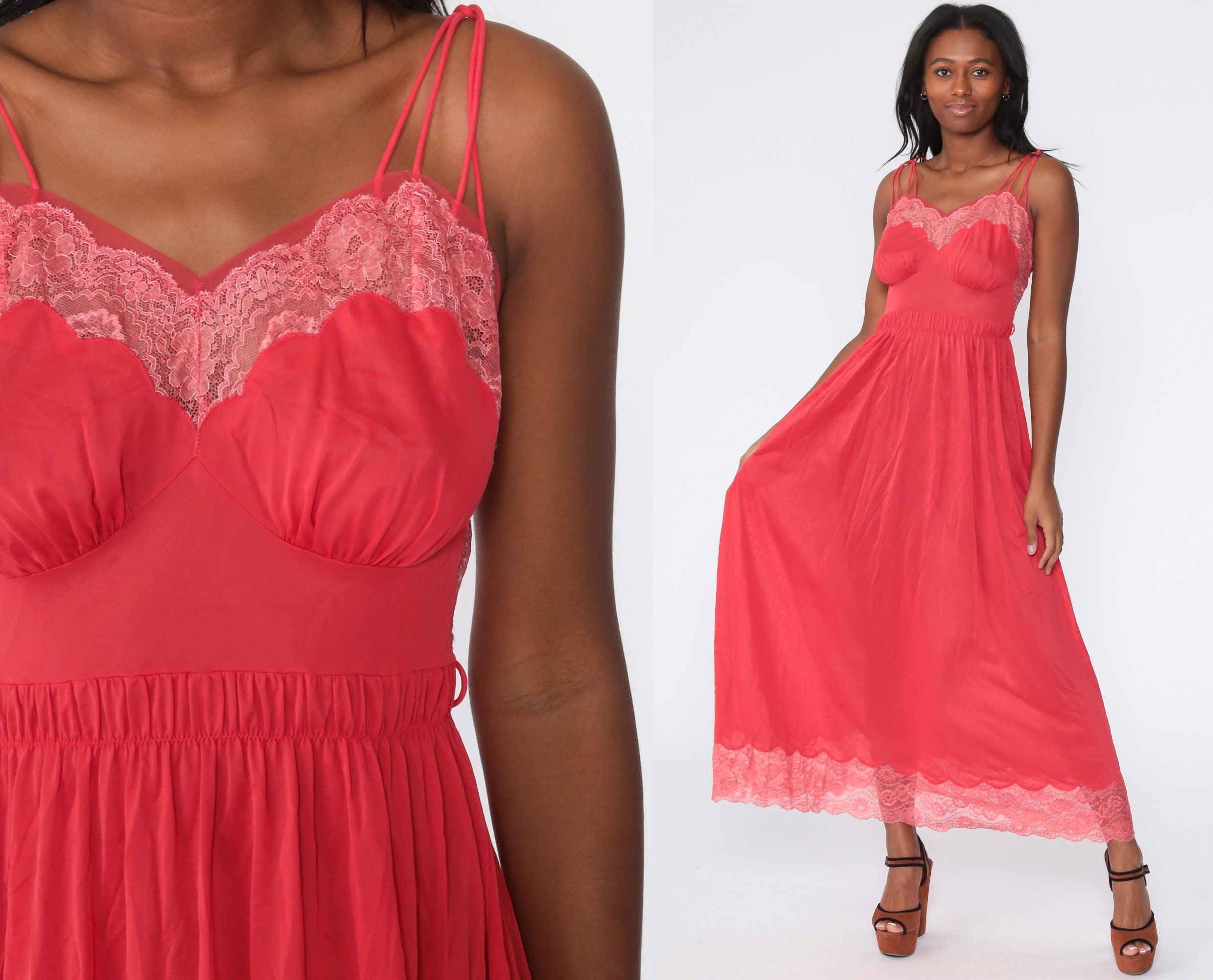 Vintage pink maxi nightgown medium romantic sheer lace