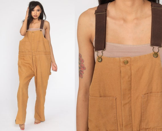 INSULATED Overalls Walls Zero Zone Coveralls Workwear Brown Baggy Bib Pants Work Wear Long Cargo Vintage Dungarees Men's Large