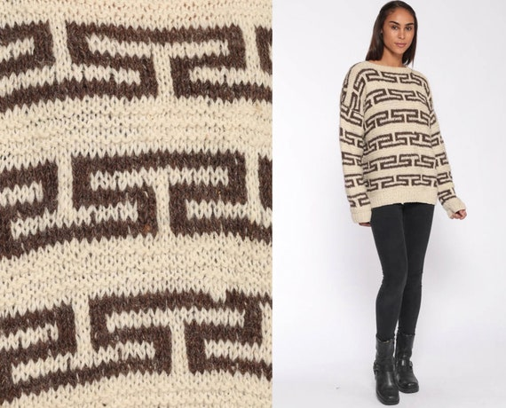 Cream Wool Sweater 80s Boho Sweater Slouchy Pullover Jumper Sweater Geometric Tribal Brown Hipster Vintage Grandpa Normcore Extra Large xl l