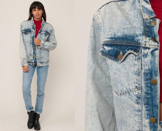 80s Denim Jacket Jean Jacket Vintage ACID WASH Jacket Grunge Jacket Trucker Button Up Light Blue 90s Hipster Oversize Medium