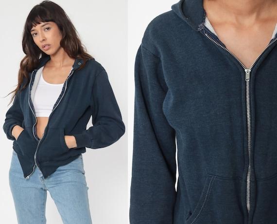 Blue Hoodie Sweatshirt 80s Hooded Sweatshirt Hood Zip Up Sweatshirt Slouchy 1980s Sweater Jacket Vintage Small
