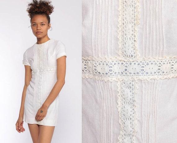 White Lace Dress xxs --  70s Mini Linen Sheath Party Cocktail 60s Mod Boho Crochet Minidress Bohemian 1970s Empire Waist Extra Small xs xxs