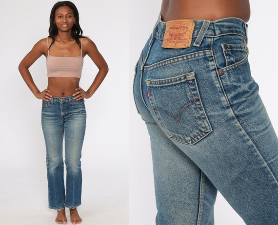 Bootcut Levis Jeans 517 Jeans Flared Jeans 80s Denim Pants Levi Strauss Faded Distressed Blue 1980s Bohemian Vintage Boho Small 27