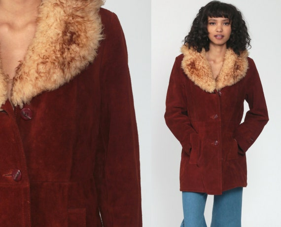 Brown Suede Coat 70s FAUX FUR Leather Hippie Jacket Boho Jacket Long 1970s Hipster Bohemian Seventies Glam Disco Womens Small s