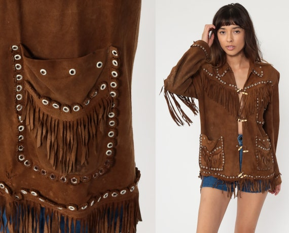Suede Fringe Jacket 70s Brown Leather Mexican Jacket Boho Vintage Southwest Western Hippie Coat Vintage Bohemian 1970s Small Medium