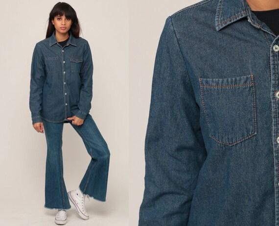 Denim Shirt 90s Grunge Blue Jean Shirt LINED Boyfriend 1990s Long Sleeve Button Up Vintage Small Medium