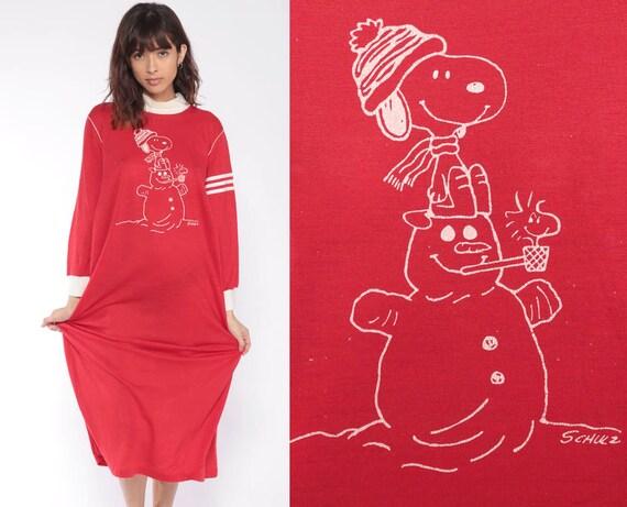 Snoopy Pajama Dress -- 80s Winter Nightie Sleep Dress Peanuts Snowman Christmas Midi Cartoon Vintage Red Long Sleeve Xmas Medium