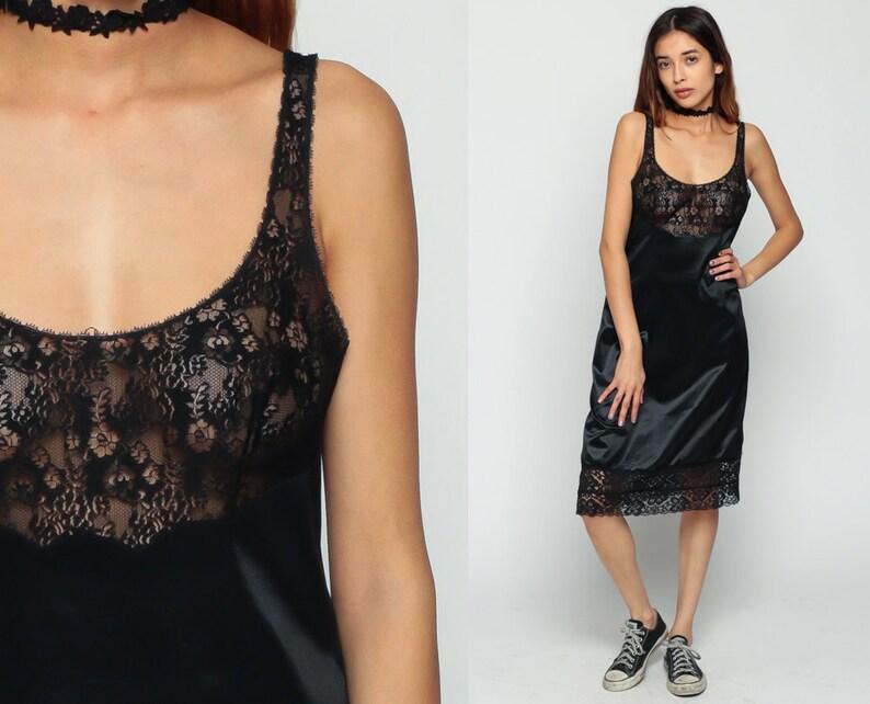 9a67616ecb48 Black Slip Dress 80s LACE Boho Sheer Lingerie Nightgown Midi   Etsy