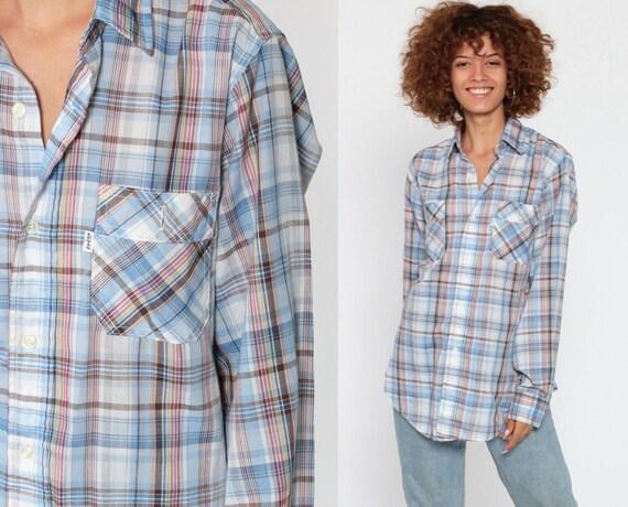 Levis Plaid Shirt 80s Blue Button Up Western Shirt Blue Plaid Shirt Levi Strauss 70s Vintage Long Sleeve Small Medium