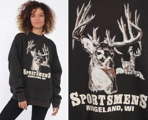 Deer Sweatshirt Animal Sweatshirt 80s Jumper Pullover Wildlife Shirt Buck 90s Hipster Raglan Sleeve Grey Vintage Slouchy Medium Large