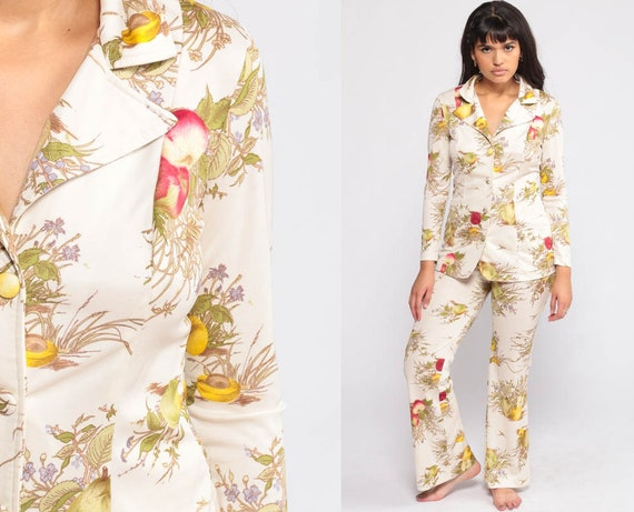 70s Jumpsuit Set Bell Bottoms PANTS + JACKET Two Piece Outfit Floral Hippie Disco High Waist Bohemian Top Vintage Trousers Boho Small