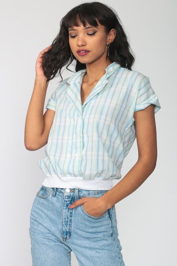 Pastel RAINBOW Blouse 80s Button Up Shirt Striped… - image 4