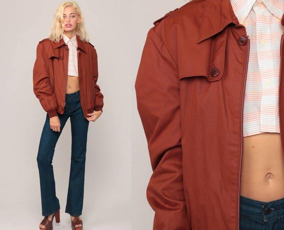 Brown Bomber Jacket 80s Boho Coat Cafe Racer Flight Jacket Hippie Jacket Moto Jacket 70s Retro Hipster Bohemian Medium
