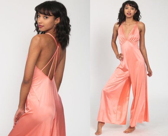 Palazzo Jumpsuit Dress Grecian Wide Leg 70s Bell Bottom Pants Pink Deep V Neck Empire Waist 1970s Spaghetti Strap Vintage Extra Small xs s