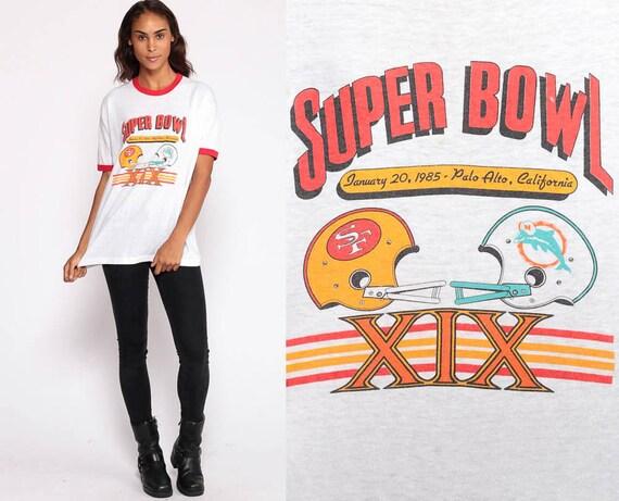 1985 Super Bowl Shirt San Francisco 49ers Shirt Football Tshirt Superbowl XIX Miami Dolphins T Shirt Ringer Tee 80s Vintage Extra Large xl
