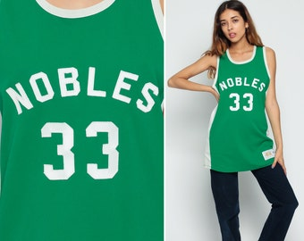 Basketball Jersey NOBLES Shirt 33 Sports Jersey 80s College Numbered Tank Top Retro Tee Vintage Green White Large