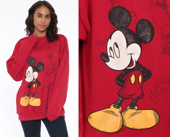90s Mickey Mouse Sweatshirt Disney Red Sweater 80s Graphic Grunge Shirt DISNEYLAND Cartoon 1990s Vintage Crewneck Red Kawaii Medium Large