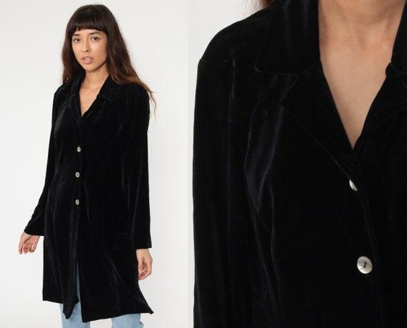Black VELVET Jacket 90s Long Jacket Gothic Jacket Boho Vintage 1990s Goth Bohemian Witch Button up Medium