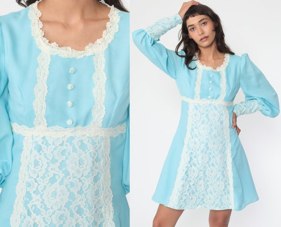 Babydoll Mini Dress 70s Baby Blue Victorian PUFF S