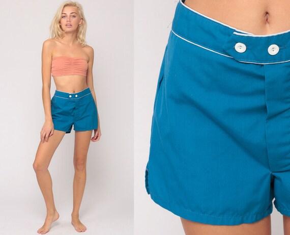 Vintage High Waist Shorts 70s Mod Boho Shirts Hipster High Rise Hotpants Bohemian Blue Shorts Retro Hot Pants 1970s Small