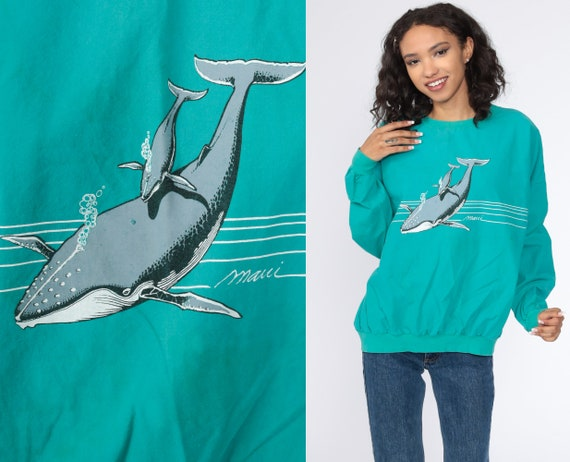 Maui Whale Shirt Sea Blue Whale Shirt 80s Hawaii Sweatshirt Green Crazy Shirts 1980s Graphic Slouchy Vintage Under the Sea Extra Large xl