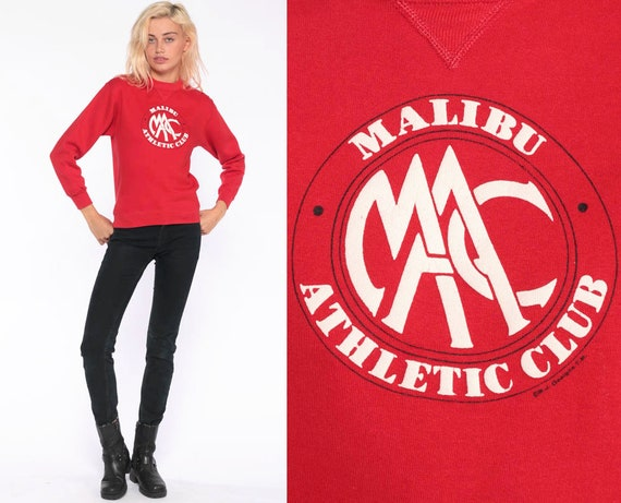 Malibu Athletic Club Shirt -- Russel Sweatshirt California Sweatshirt 80s Retro Slouchy Pullover Gym 1980s Graphic Red Vintage Small xs
