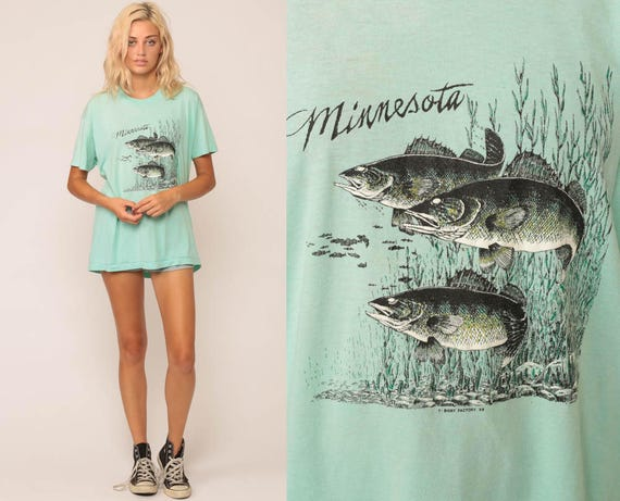 Fish Shirt MINNESOTA T Shirt 80s Graphic Tshirt Vintage Top Burnout Paper Thin Fishing Hipster 1980s Retro Tee Aqua Blue Extra Large xl