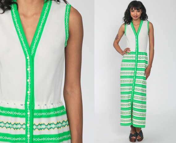 70s Maxi Dress Mod Dress Green White Striped Dress