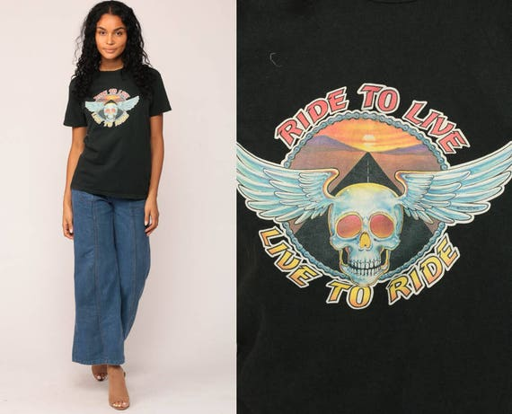 Biker Shirt LIVE TO RIDE Motorcycle Tshirt Skull Shirt Motorcycle t Shirt Black 80s Graphic Tee Rocker Highway Moto Rock Medium